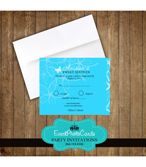 Aqua Butterfly Matching RSVP Card