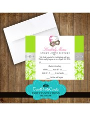 Lime Green Mask Matching RSVP Card