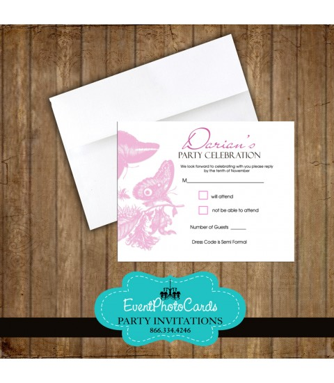 Pink Butterfly Matching RSVP Card