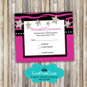 Fuschia Pink Star RSVP Card