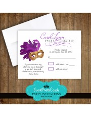 Purple Gold Mask Matching RSVP Card