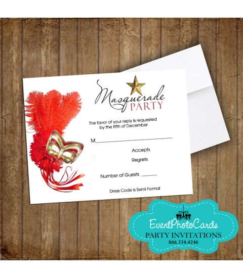 Red Gold  Mask  Matching RSVP Card