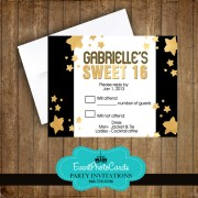 Hollywood Gold Stars Matching RSVP Card