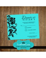 Turquoise Tiffany Blue Matching RSVP Card