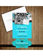 Aqua Zebra Sweet 15th Save the Date