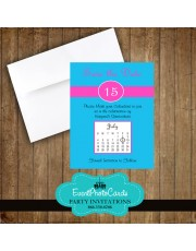 Blue Pink Quinceanera Save the Date