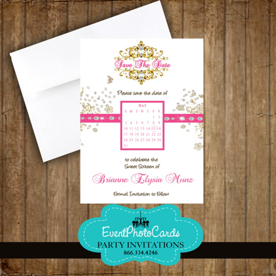 pink diamonds quinceanera save the date
