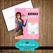 Fashion Pink Save the Date Quinceanera