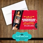 Hollywood Filmstrip Save the Date - Red