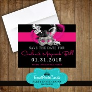 Pink Black Masquerade Save the Date