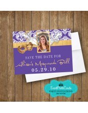 Mask Purple Save the Date - Gold