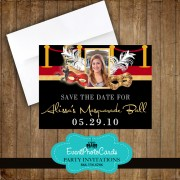 Red Carpet Mask Save the Date Quinceanera