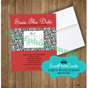 Damask Save the Date - Red