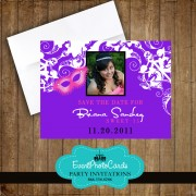 Mask Save the Date - Purple Quinceanera