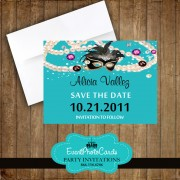 Teal Masquerade Quinceanera Save the Date