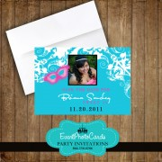Mask Save the Date - Turquoise Quinceanera