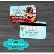 Alice in wonderland Red Roses Pastel Blue - Credit Card Style