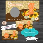 Scratch Off Orange Sunflower Western Pack of 20 (3 Winners) - Quinceanera