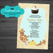 Tea Time Floral Yellow Brown Birthday Party Invitations