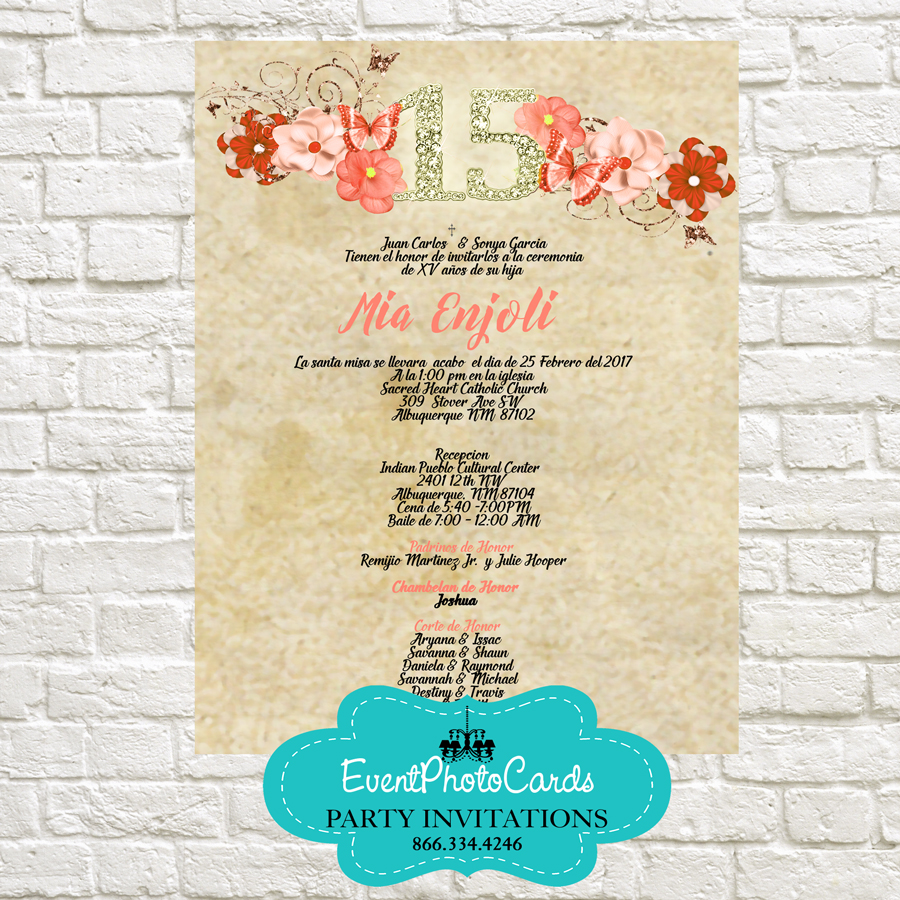 Butterfly Coral Sweet Fifteen Invitations Scroll Quinceanera