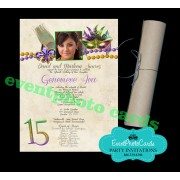 Quinceanera  Scroll Invitations - Mardi Gras