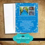 Stars Quinceanera Photo Invitations Blue