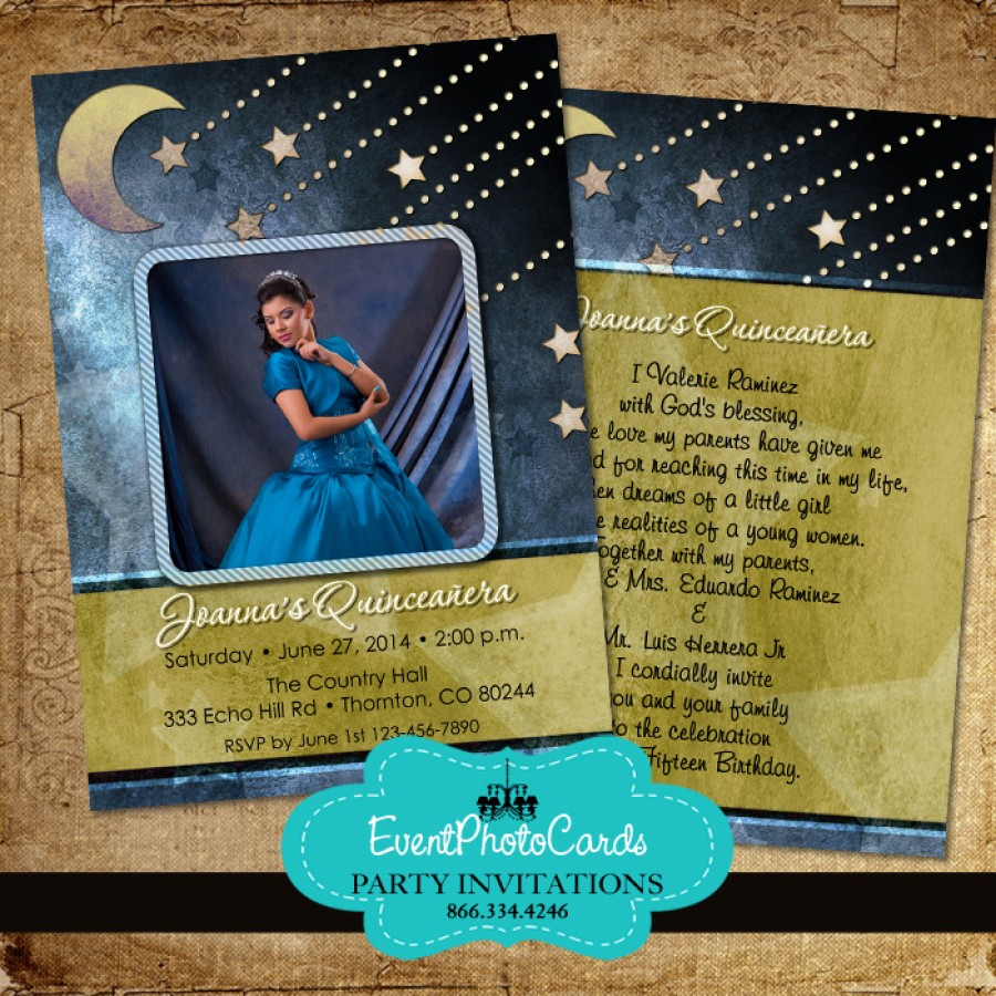 stars  u0026 moon quinceanera invitations