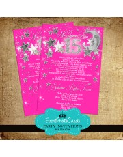Stars & Moon Pink Quinceanera Invitations