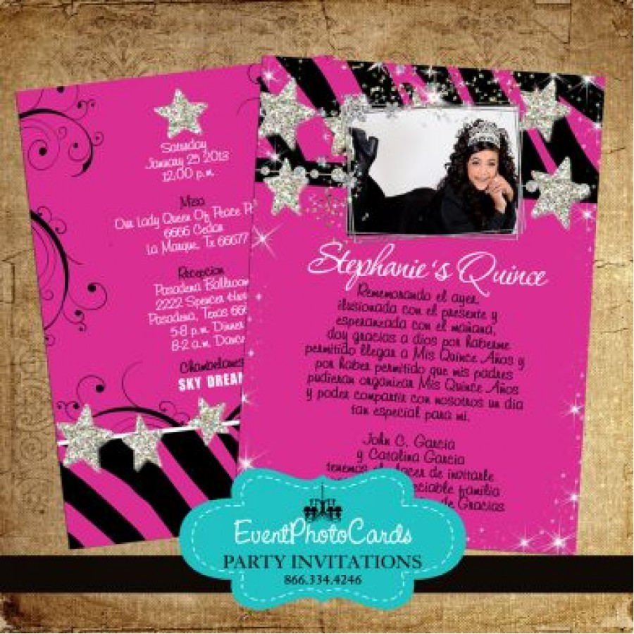 hot pink zebra with stars quinceanera invites