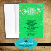 Stars Green Sweet 15th Invitations