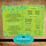 Stars Lime Green Quinceanera Invitations