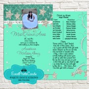 Mint Green Stars Quinceanera Photo Invitations  - Silvers