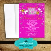 Pink & Orange Stars Sweet 15th Invitations