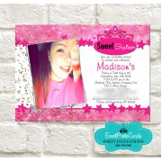 Pink Bokeh Stars Quinceanera Invitations