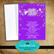 Stars  Fuschia Purple Sweet 15th Invitations
