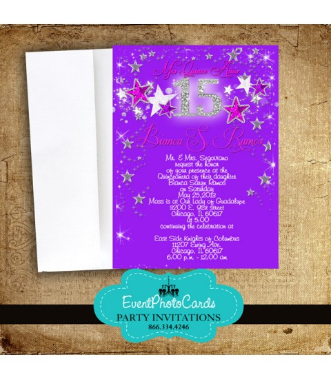 Fuschia Purple Stars Sweet 15th Invitations