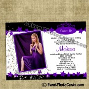 Purple Under the Stars Quinceanera  Photo Invitations