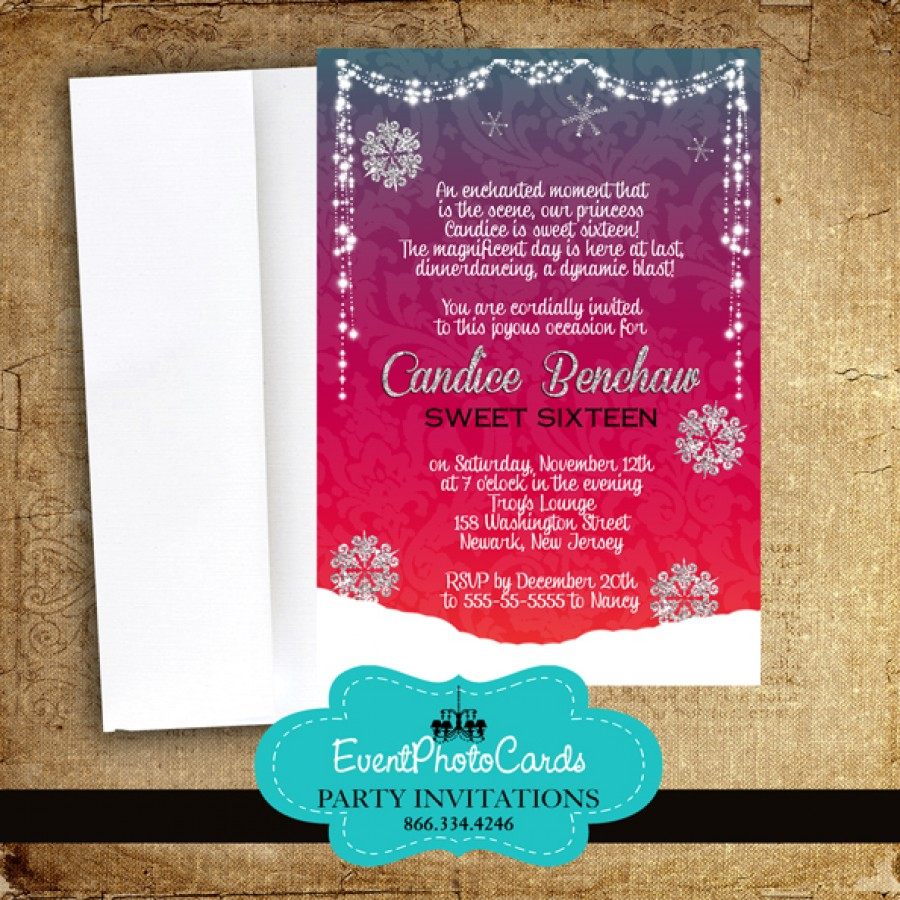 Winter Wonderland Red Sweet 16 Invitations