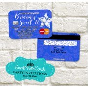 Royal Blue Silver Stars Invitations - Credit Card