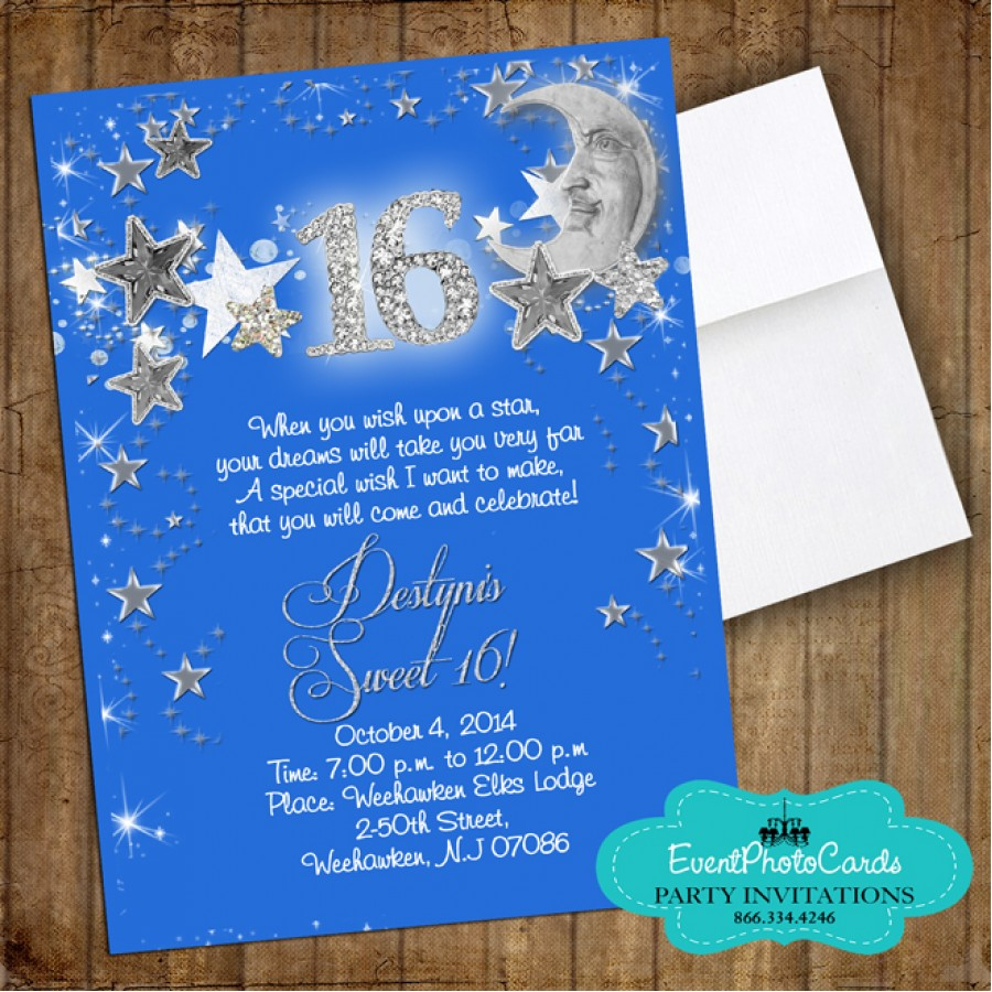Stars & Moon Royal Blue Quinceanera Invitations