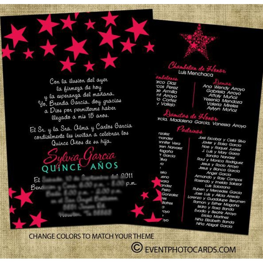 star quinceanera invitations black pink