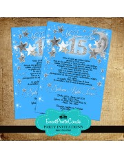 Stars & Moon Aqua Blue Quinceanera Invitations