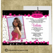 Stars Pink and Black Quinceanera Photo Invites - Sweet 15