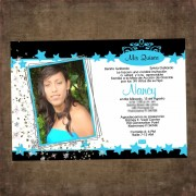 Star Quinceanera Invitations - Aqua