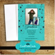 Under the Stars Teal Photo Invite