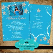 Stars Aqua Quinceanera Photo Invitations -B