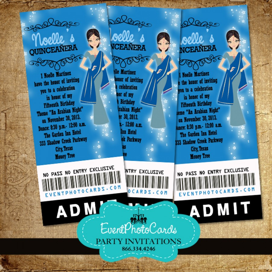 Royal Blue Arabian Theme Invitations Ticket for