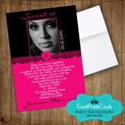 Fuschia Pink & Black Sweet 16 Photo Invitations