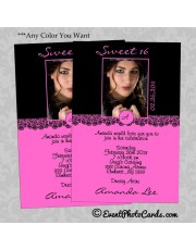 Hot Pink Damask Sweet 16 Invitations