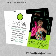 Lime Green & Black 16th Birthday Invitations